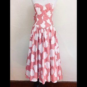 Vintage 1980s Pink Strapless Prom Party Dress